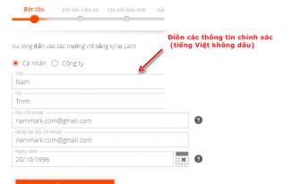 Điền thông tin đăng ký