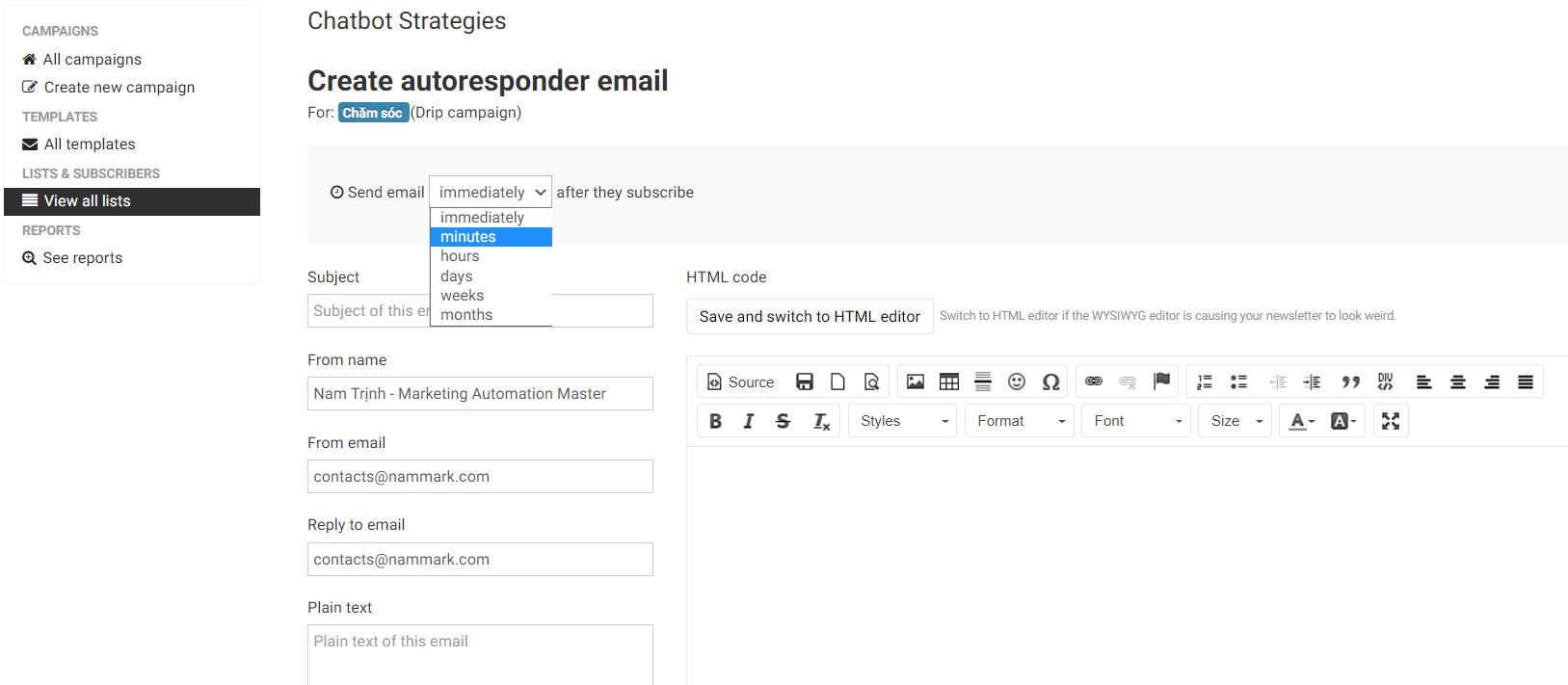 them-email-vao-chuoi-cham-soc-email-marketing-sendy-nammark